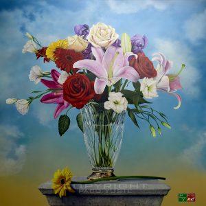 Cuadro hiperrealista al óleo - jarrón con flores
